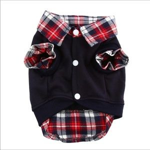 Other - Pet- Adorable Navy and Plaid Sweat Shirt w/Snaps